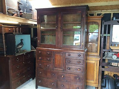 Large Georgian  Dresser Oak Linen Press Kitchen Cupboard Housekeepers Barn Find