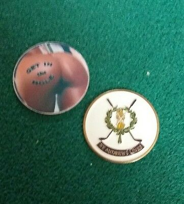 2 GOLF BALL MARKERS..St ANDREWS LINKS...BUM
