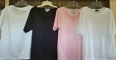 Lot Of 4 Women's Dressy Short Sleeve Tops  - Size Large 12-14 -Excellent