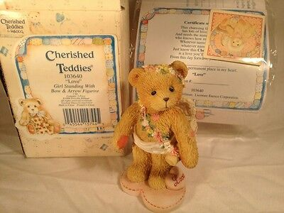 Boxed Cherished Teddies Love Girl Standing With Bow & Arrow Figurine 103640