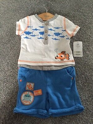 BNWT Disney Store Baby Finding Nemo Shorts T-Shirt Outfit 3 - 6 Months