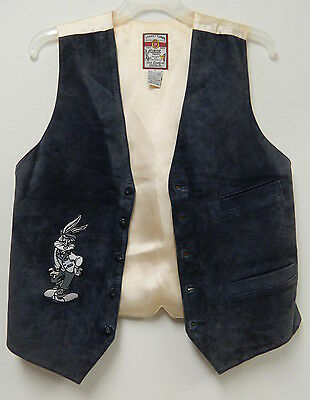 Vintage Leather Bugs Bunny Vest~Mens Small~Warner Bros~Looney Tunes~Embroidered
