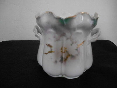 Antique RS Prussia Small Porcelain Biscuit Jar Flower Ruffle Edge Handles c 1907