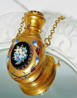 ~ CHATELAINE PERFUME BOTTLE Italian PIETRA DURA Stone Inlay GILT 1800's Scarce ~