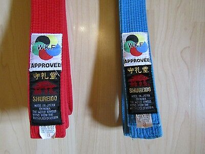 Shureido WKF approved red and pale blue competition karate belts size 220 cm