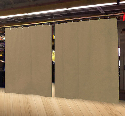 Lot of (2) Economy Tan Curtain Panel/Partition 8 H x 4½ W, Non-FR