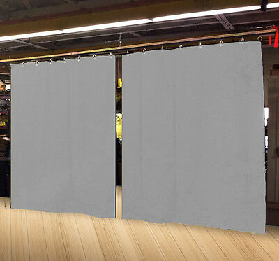 Lot of (2) New Economy Silver Curtain Panel/Partition 8 H x 4½ W, Non-FR
