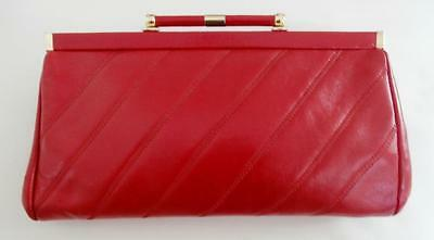 Vintage 1980's Fire Engine Red Leather Clutch / Shoulder Bag by Jane Shilton