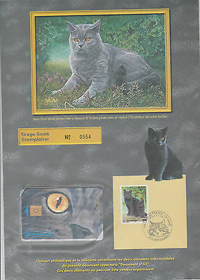 Encart Philatelique Telecarte 50 U Animal Chat Le Chartreux Gennevilliers 1999