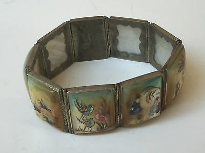 ANTIQUE PERSIAN FINELY HAND PAINTED STORY PANEL BRACELET BANGLE Mother Of Pearl