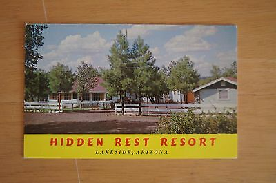 Rare HIDDEN REST RESORT Lakeside Arizona Information Card Price Guide C1970'S