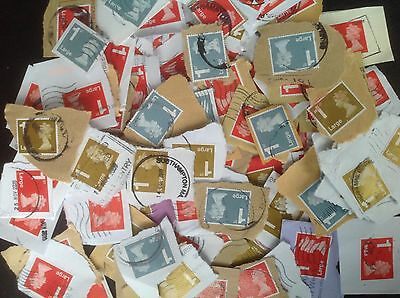 500 1st Class Large Letter GB Stamps Used Franked on Paper - Unchecked codes etc