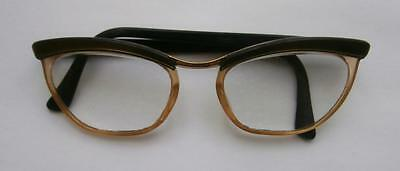 Vintage 1960's Lt Brown Clear & Brown Cat's Eye Glasses Spectacles (with lenses)