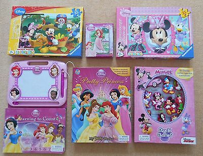 Lot of Disney toys jigsaw puzzles and books - princesses and mickey clubhouse