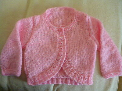 New Hand Knitted Baby Girls Baby Pink Bolero Age 0 To 3 Mths