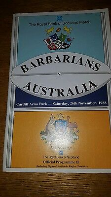 Barbarians v Australia rugby programme 1988