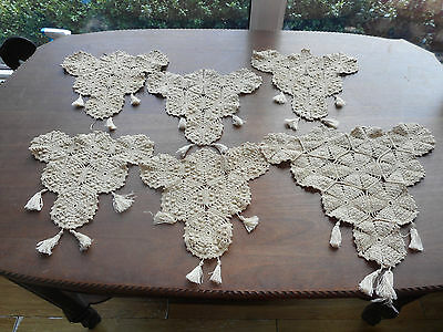 6 early vintage antique dark beige doilies triangle with tassels