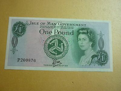 ISLE OF MAN GOVERNMENT - UNCIRCULATED DAWSON BRADVEK PLASTIC £1 NOTE  - P38a