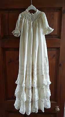 Collectible Antique Vintage Ivory Silk and Lace Tiered Christening Gown
