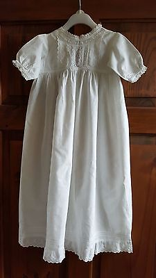 Vintage Antique White Cotton Christening Gown