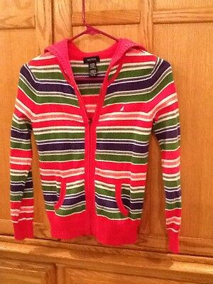 Nautica Girl's Size L(10/12) Striped Zip Up Sweater/Hooded 100% Cotton EUC