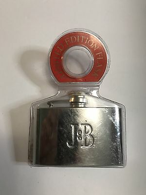 New J&B Limited Edition Pocket Size Stainless Steel Small Flask Scotch Whiskey