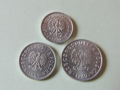 3 x POLAND COINS - 5 & 10 GROSY COINS DATED 1949 & 1970 - Ref 75