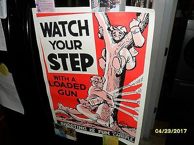 "Vintage Will Eisner Gun Safety Poster 18"" x 25"" Hunting Sign Game and Fish Ad"