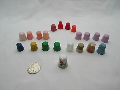 Assorted vintage, old, older modern colourful plastic thimbles  x 20 ,