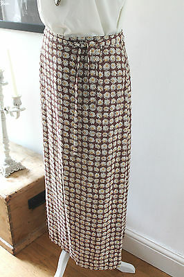 Vintage Betty Barclay Brown Floral Daisy Side Tie Midi Skirt Size: UK10