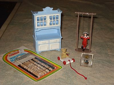Miniature Hutch by Playmobil, Girl on Swing,Doll House Furniture. 11 items