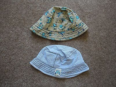 Two Baby Boy Sun Hats 6-12 Months Vehicles on both hats