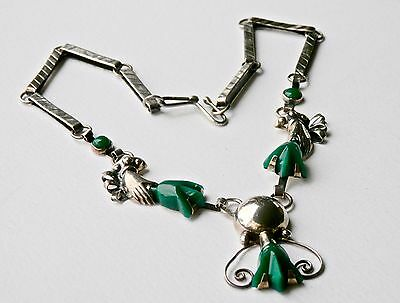 Mexican Sterling Silver Green Chrysoprase Necklace Earrings Set Signed Vintage