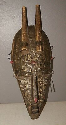 Vintage Wood  Brass Bamana – Marka African Tribal Art Mask from Mali