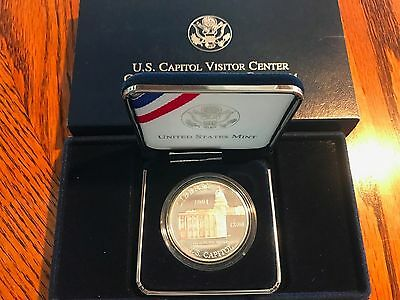 Silver 2001 Us Capital Visitor Center $1 Commemorative Proof Coin