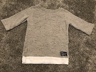 River Island Mini Boys 0-3 Months Top. Grey Waffle Long Sleeves