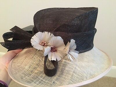 Formal Occasion Wedding Races Ascot Hat Brown Beige Coffee