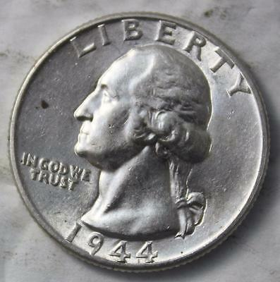 United States 1944P Silver Quarter, Uncirculated With Luster