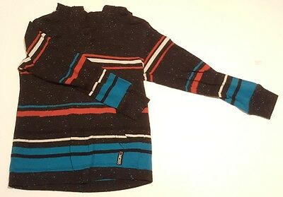 Baby Boy Size 3T Micros Long Sleeve Hooded Shirt. Striped Design.