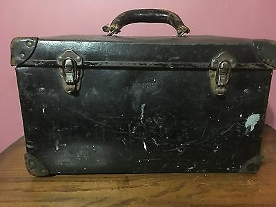 Vintage Bell Systems Tool Box With Leather Handle and Tray