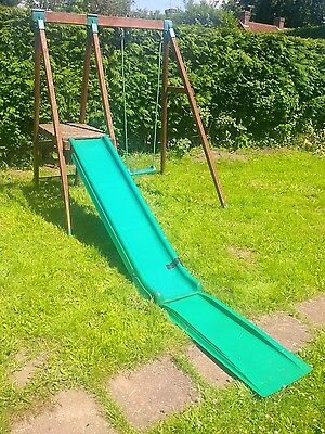 climbing frame wooden slide and swing
