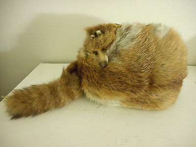 Vintage Real Genuine Fur Red Fox Muff Hand Warmer with face and tail