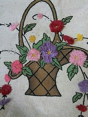 """Vintage Embroidered Arts and Crafts Fabric Panel """"Baskets"""" you finish"""