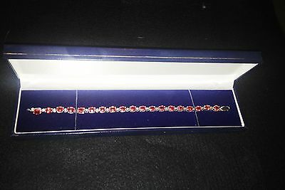 White 9ct Gold Garnet and Diamond Tennis Bracelet