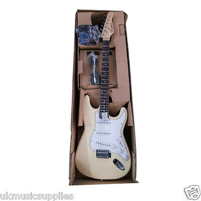 Coban Guitars Beginners Package in Vintage Cream inc 10w Amp Plus LOW START