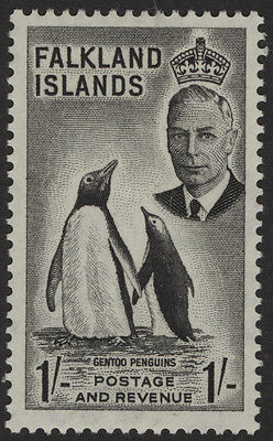 Falkland Islands 1952 one shilling Gentoo Penguin stamp
