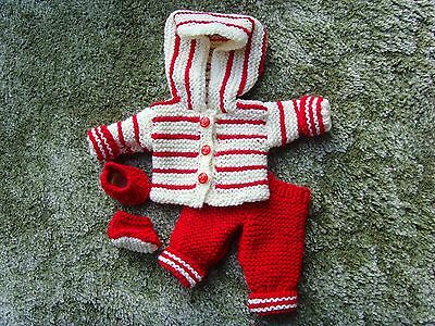 Hand-knitted doll's outfit, fit 12-14 ins, red/white hoodie, trousers and shoes