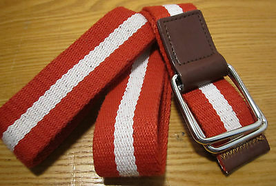 Red White Canvas Striped D-Ring Belt 110cm Unisex Strap Waist Band D ring Buckle