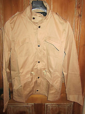 NEW Men's Military Style Fit Slim Stand Collar Coat Jacket Zip Button Tan Medium