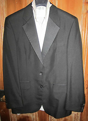 "Formal Tuxedo 38"" Jacket Black Satin Lapels, 14.5"" Shirt White Frills DoubleCuff"